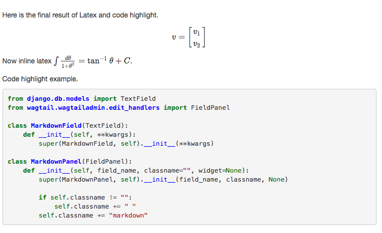 Wagtail Tutorials #9: Add LaTeX Support & Code Highlight In Wagtail